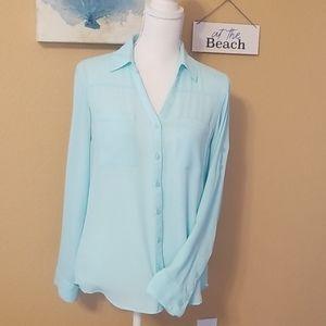 EXPRESS The Portofino Shirt Turquoise Blouse